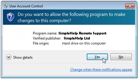 When promted to start remote support session click YES to allow program to run